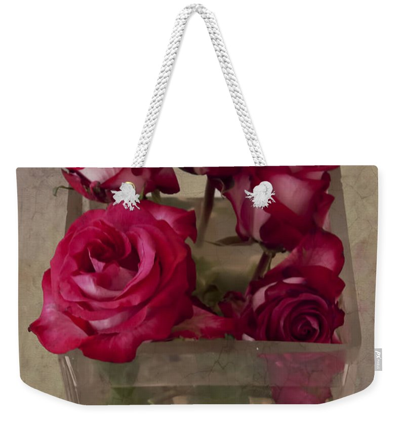 Vase Weekender Tote Bag featuring the photograph Vase Of Roses by Jean-Pierre Ducondi