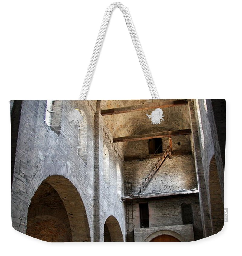 Vault Weekender Tote Bag featuring the photograph Vaulted Roof St Philibert - Tournus by Christiane Schulze Art And Photography