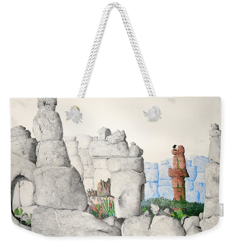 Landscape Weekender Tote Bag featuring the painting Vaulting by A Robert Malcom