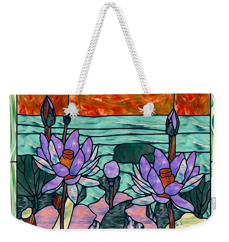 Glass Weekender Tote Bag featuring the painting Vector Illustration Of Flower Sunflower In Stained Glass Window by Jeelan Clark