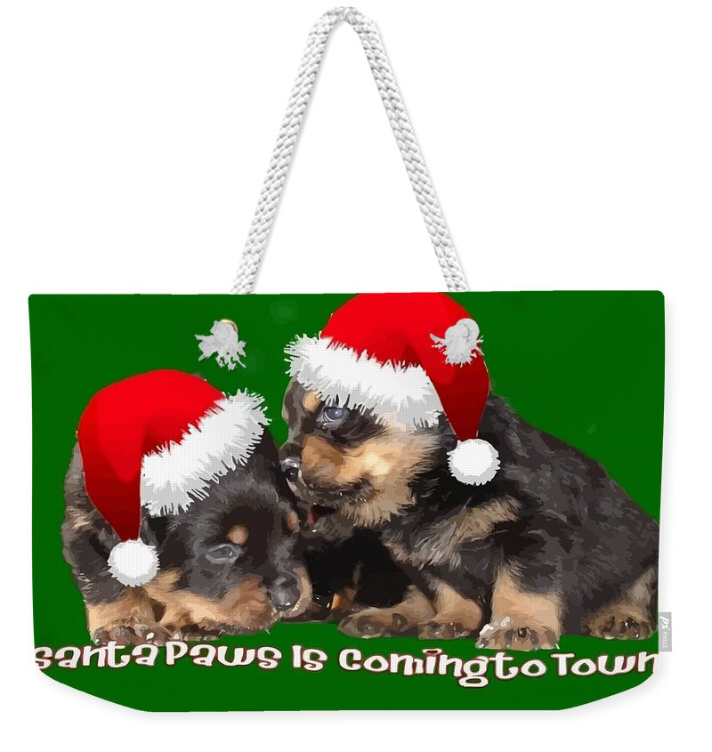 Christmas Weekender Tote Bag featuring the photograph Vector Santa Paws Is Coming To Town Christmas Greeting by Taiche Acrylic Art