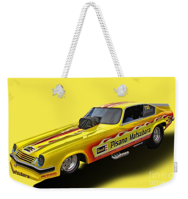 1974 Chevy Vega Weekender Tote Bag featuring the photograph Vega Funny Car by Tommy Anderson