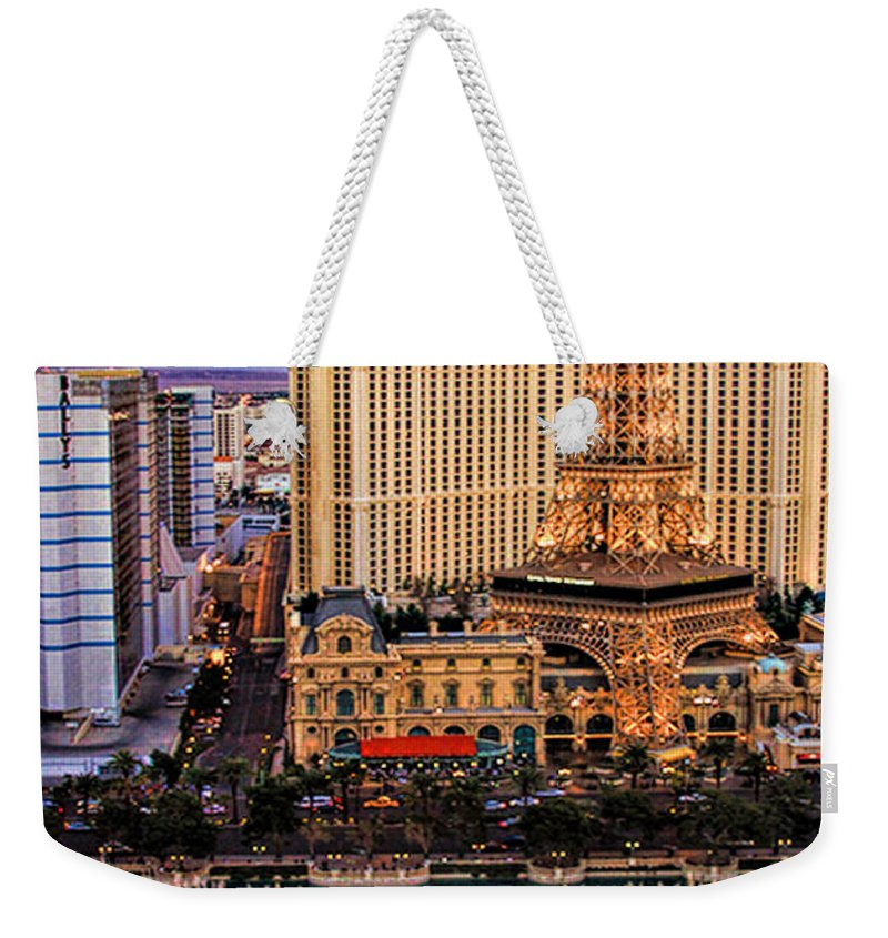 Bellagio Weekender Tote Bag featuring the photograph Vegas Water Show by Tammy Espino
