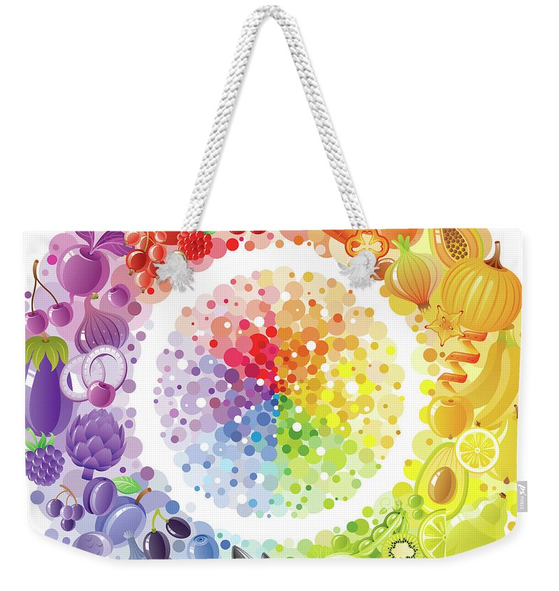 Nut Weekender Tote Bag featuring the digital art Vegetarian Rainbow Plate Withe Fruits by O-che