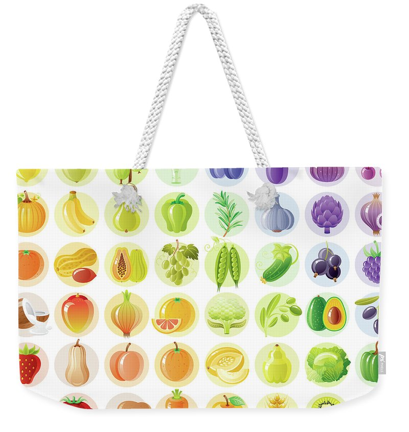 Nut Weekender Tote Bag featuring the digital art Vegetarian Rainbow Withe Fruits by O-che