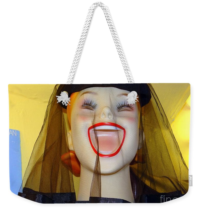 Mannequins Weekender Tote Bag featuring the photograph Veiled Laugh by Ed Weidman