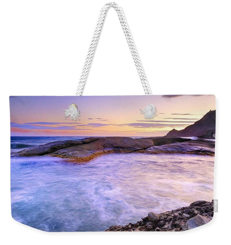 Purple Weekender Tote Bag featuring the photograph Vela Blanca by Guido Montanes Castillo