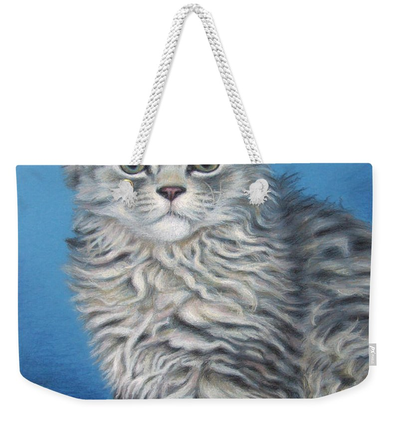 Cat Weekender Tote Bag featuring the drawing Velvet Kitten by Nicole Zeug