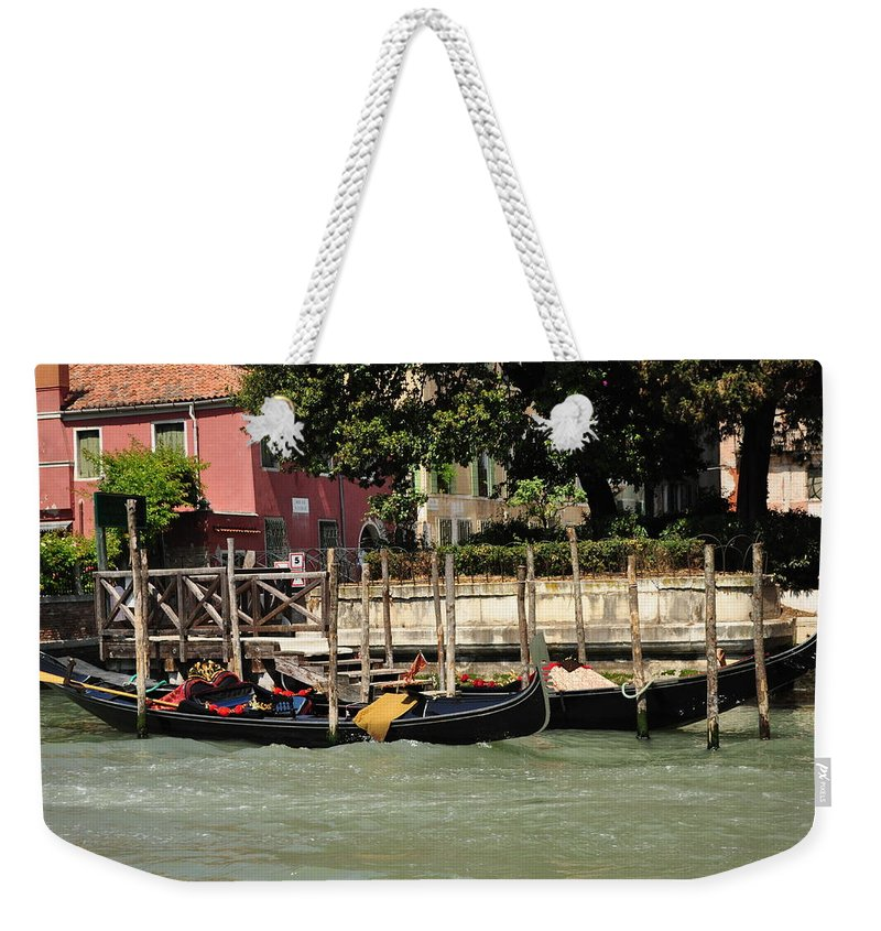 Gondola Weekender Tote Bag featuring the photograph Venetian Gondolas by Karen Maxwell