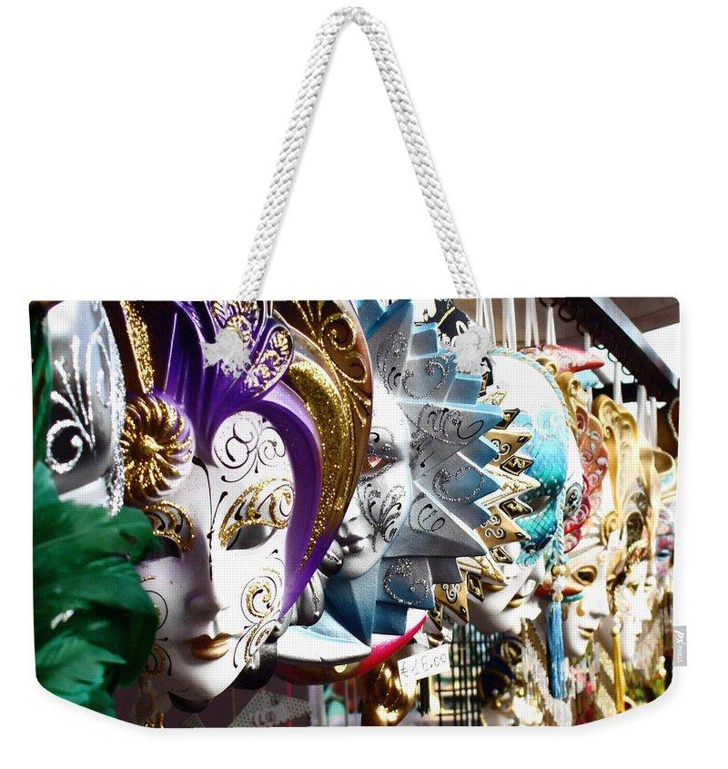 Venetian Masks Weekender Tote Bag featuring the photograph Venetian Masks 1 by Ellen Henneke