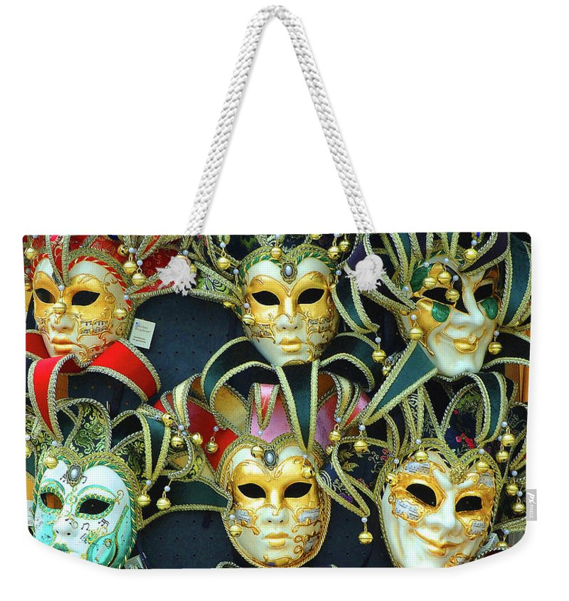 Mardi Gras Weekender Tote Bag featuring the photograph Venetian Opera Masks by George Buxbaum