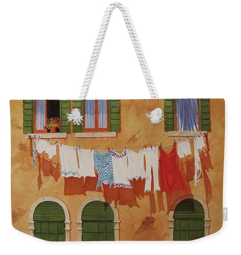 Venice Weekender Tote Bag featuring the painting Venetian Washday by Mary Ellen Mueller Legault