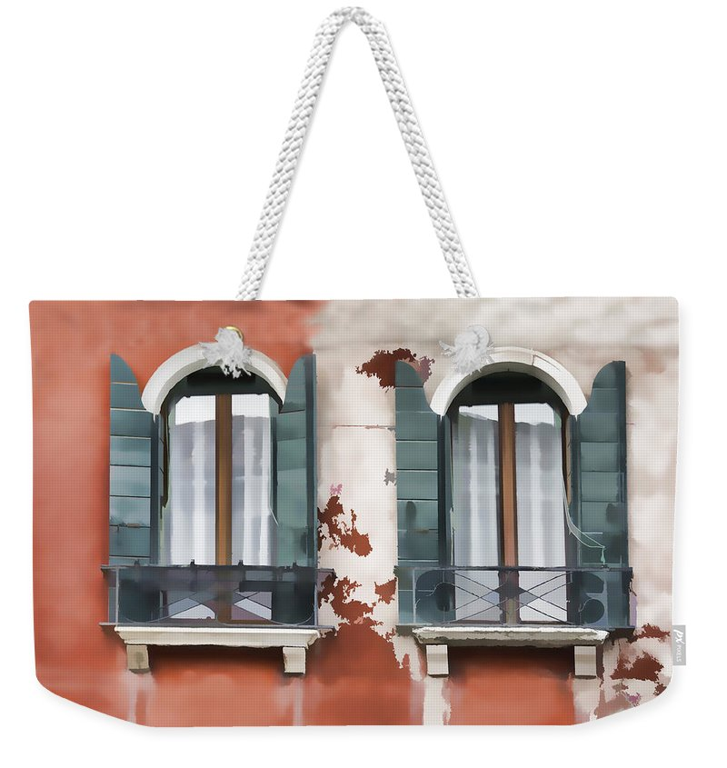 Rialto Bridge Weekender Tote Bag featuring the photograph Venetian Window by Indiana Zuckerman