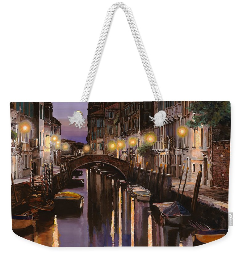 Venice Weekender Tote Bag featuring the painting Venezia Al Crepuscolo by Guido Borelli
