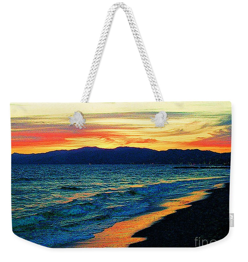 Venice Beach Weekender Tote Bag featuring the photograph Venice Beach Sunset by Jerome Stumphauzer