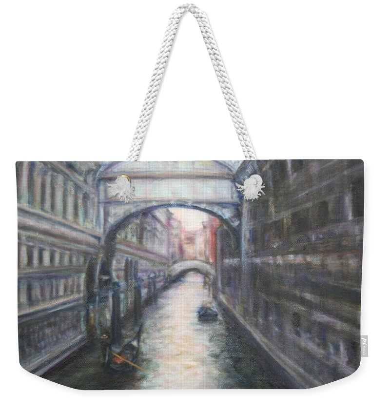 Boat Weekender Tote Bag featuring the painting Venice Bridge Of Sighs - Original Oil Painting by Quin Sweetman