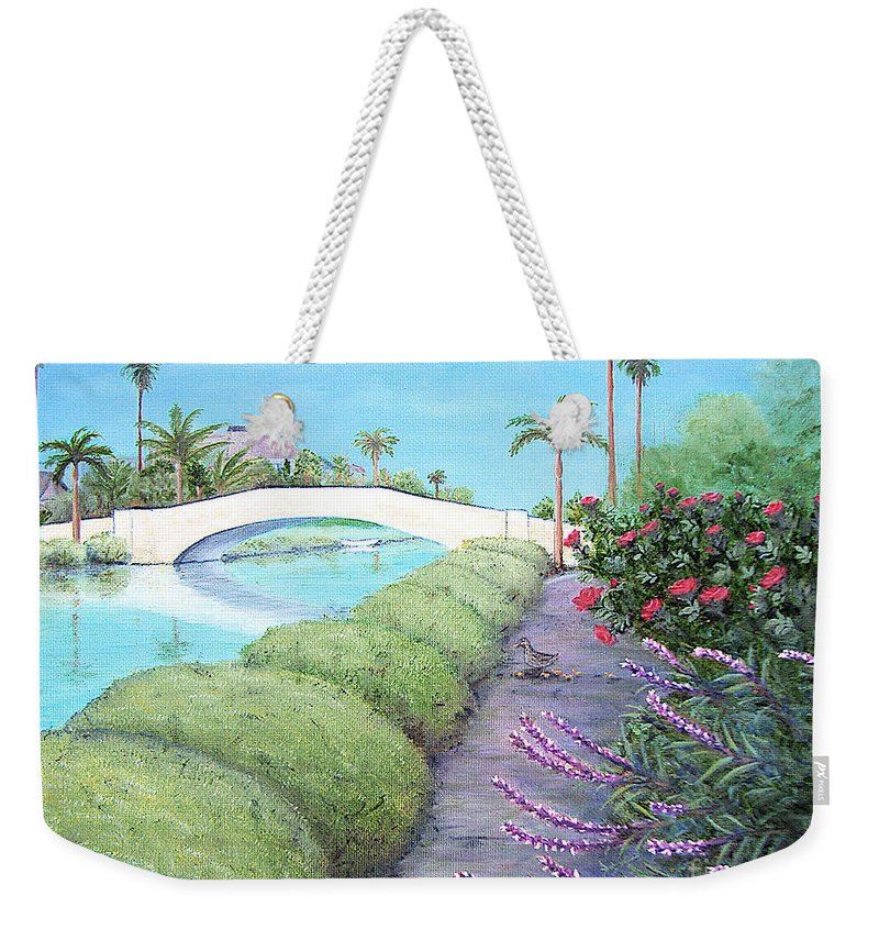 Canal Weekender Tote Bag featuring the painting Venice California Canals by Jerome Stumphauzer