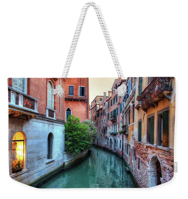 Tranquility Weekender Tote Bag featuring the photograph Venice Canals by Emad Aljumah