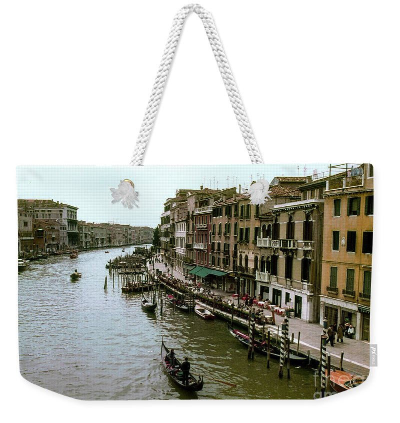 Venice Grand Canal Canals Building Buildings Boat Boats Dock Docks Gondola Gondolas Structure Structures Shop Shops Stores Architecture People Person Persons Water Italy City Cities Cityscape Cityscapes Waterscape Waterscapes Weekender Tote Bag featuring the photograph Venice Grand Canal by Bob Phillips