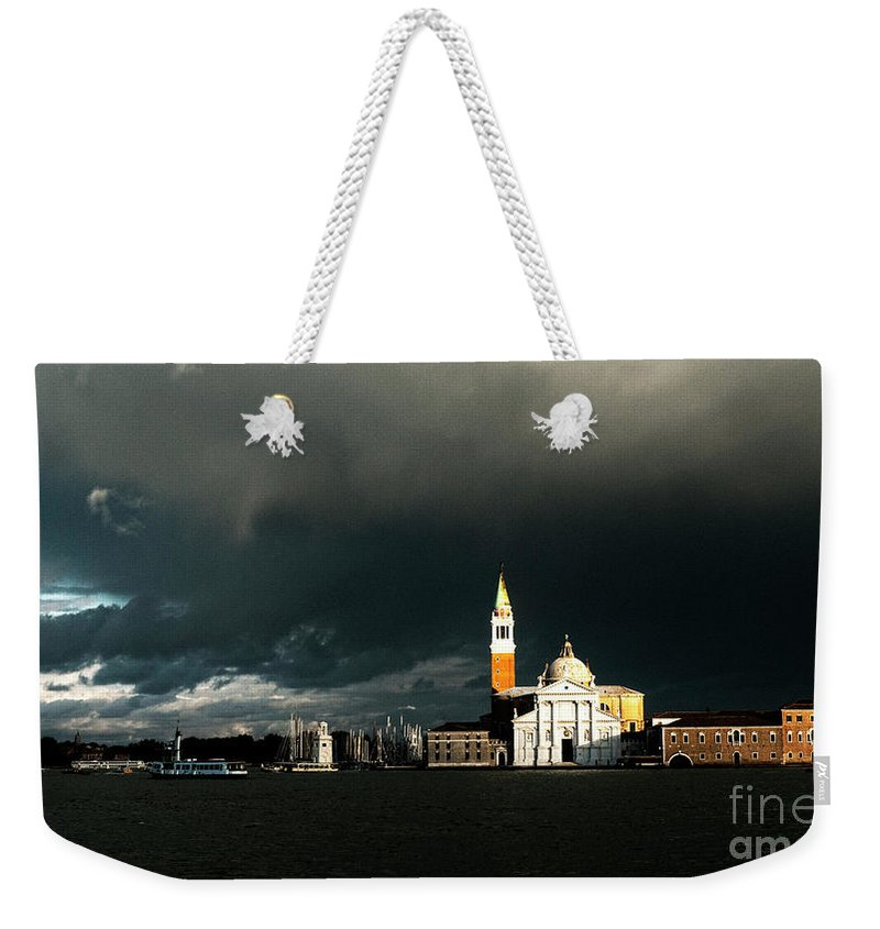 Venice Weekender Tote Bag featuring the photograph Venice Island Saint Giorgio Maggiore by Heiko Koehrer-Wagner