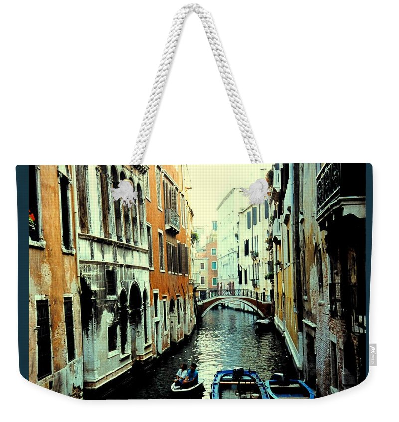 Venice Weekender Tote Bag featuring the photograph Venice Street Scene by Ian MacDonald