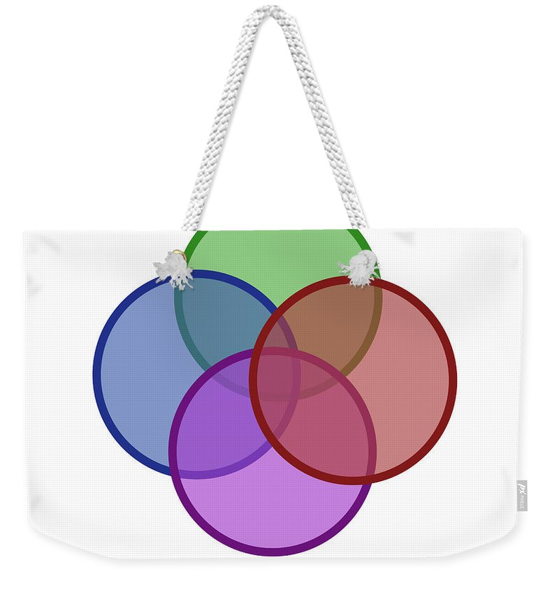 Circle Weekender Tote Bag featuring the photograph Venn Diagram Of Intersecting Circles by Gwen Shockey