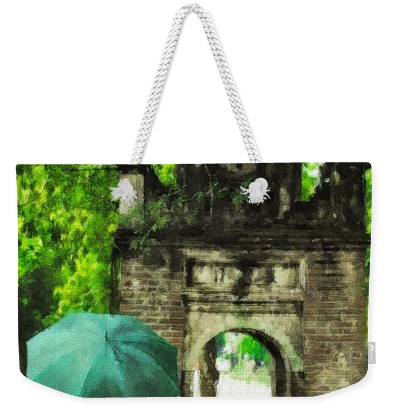 Green Weekender Tote Bag featuring the painting Verdant Ramble by Sandy MacGowan
