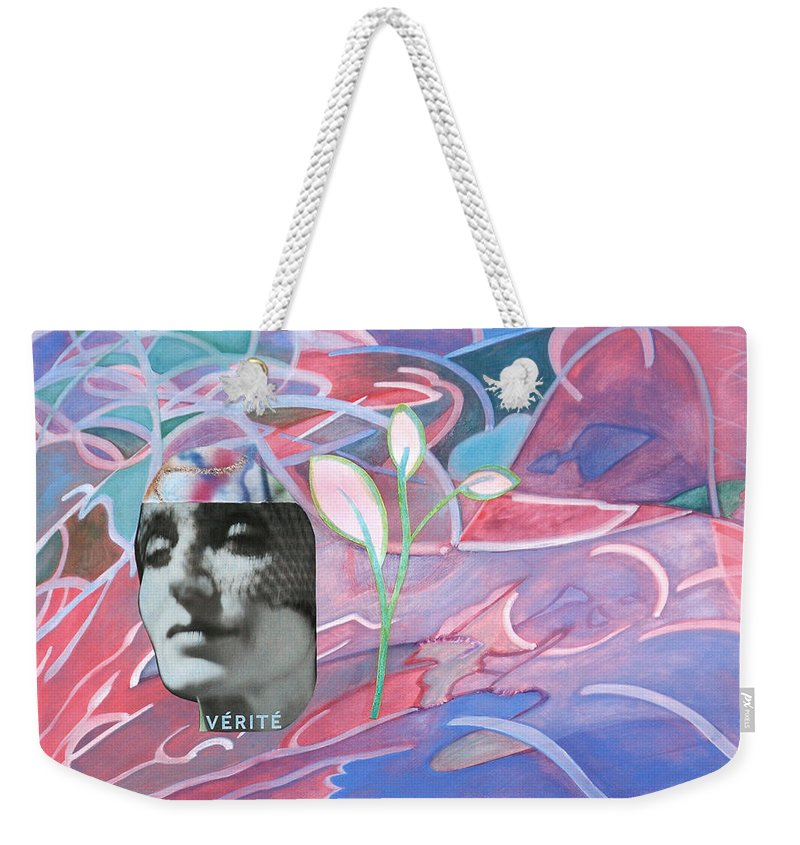 Expressionist Watercolor Painting Paintings Collage Pink Purple Violet Bright Color Movement Active French Woman Head Face Photography Weekender Tote Bag featuring the painting Verite by Laura Joan Levine