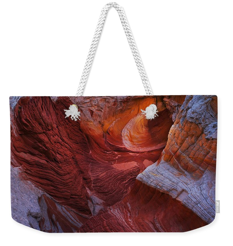 White Pocket Weekender Tote Bag featuring the photograph Vermilion Eye by Peter Coskun