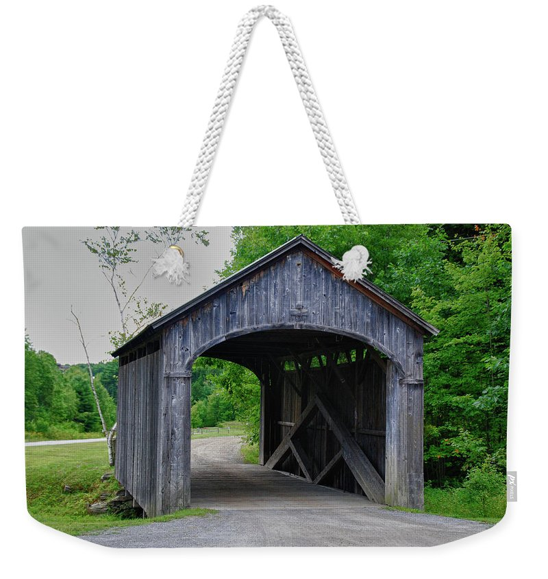 Covered Bridge Weekender Tote Bag featuring the photograph Vermont Country Store 5656 by Guy Whiteley