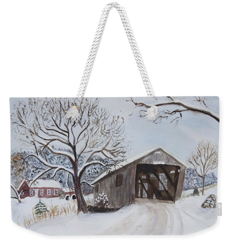 Vermont Weekender Tote Bag featuring the painting Vermont Covered Bridge In Winter by Donna Walsh