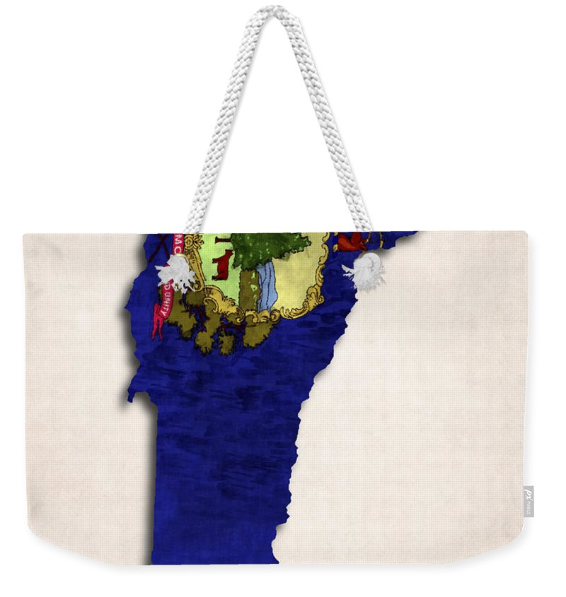 America Weekender Tote Bag featuring the digital art Vermont Map Art With Flag Design by World Art Prints And Designs