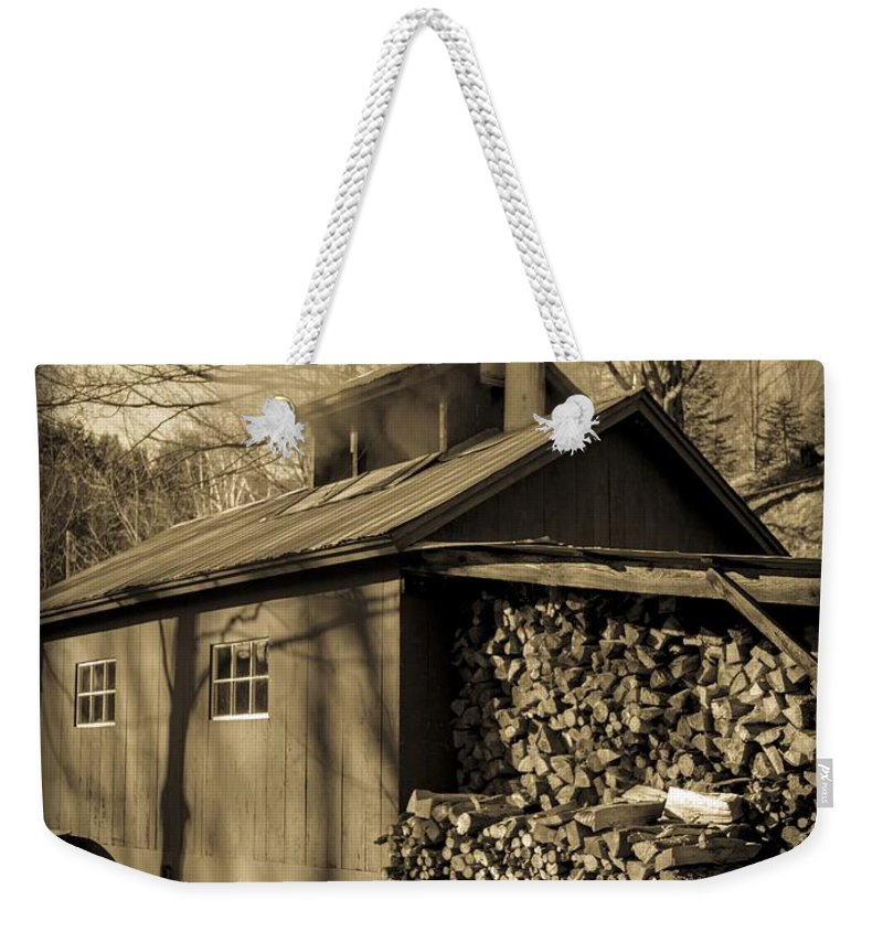 Maple Weekender Tote Bag featuring the photograph Vermont Maple Sugar Shack Circa 1954 by Edward Fielding