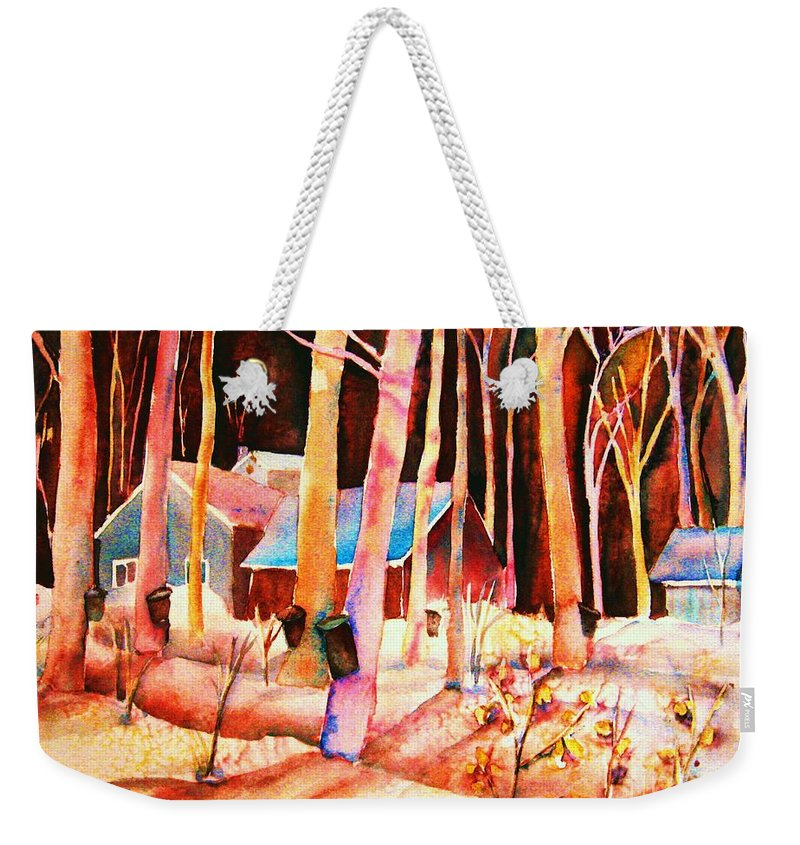 Montreal Weekender Tote Bag featuring the painting Vermont Maple Syrup by Carole Spandau