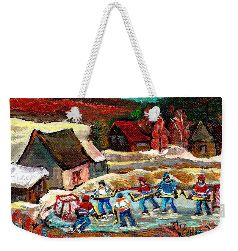 Vermont Weekender Tote Bag featuring the painting Vermont Pond Hockey Scene by Carole Spandau