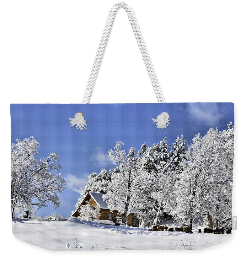 Winter Weekender Tote Bag featuring the photograph Vermont Winter Beauty by Deborah Benoit