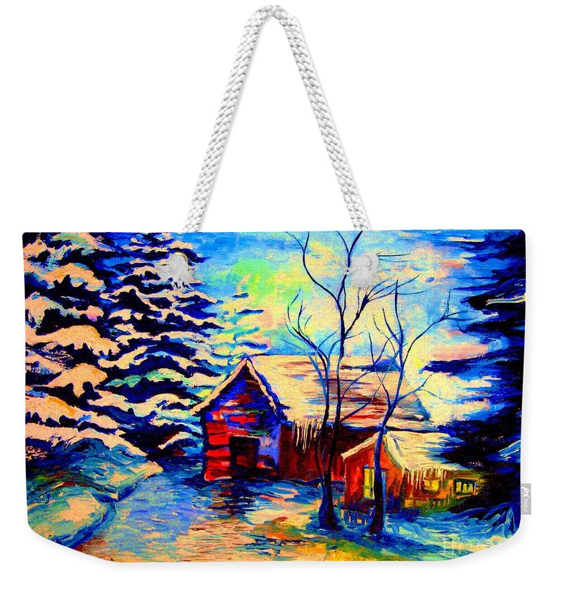 Vermont Winterscenes Weekender Tote Bag featuring the painting Vermont Winterscene In Blues By Montreal Streetscene Artist Carole Spandau by Carole Spandau
