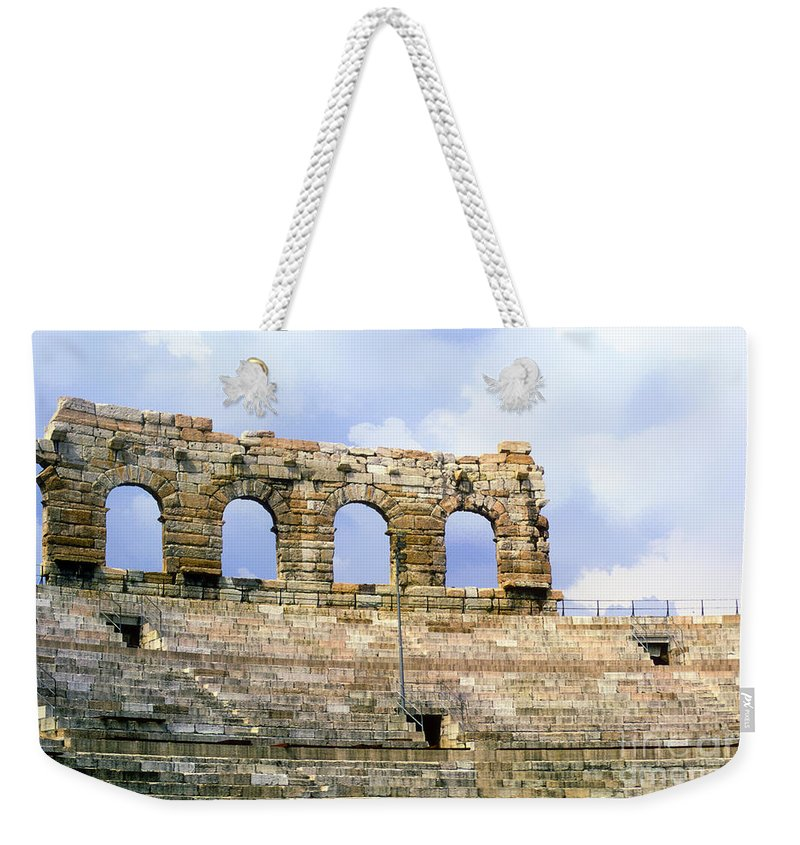 Verona Colosseum Colosseums Structures Structure Seat Seats Step Steps Architecture Italy Weekender Tote Bag featuring the photograph Verona Colosseum by Bob Phillips