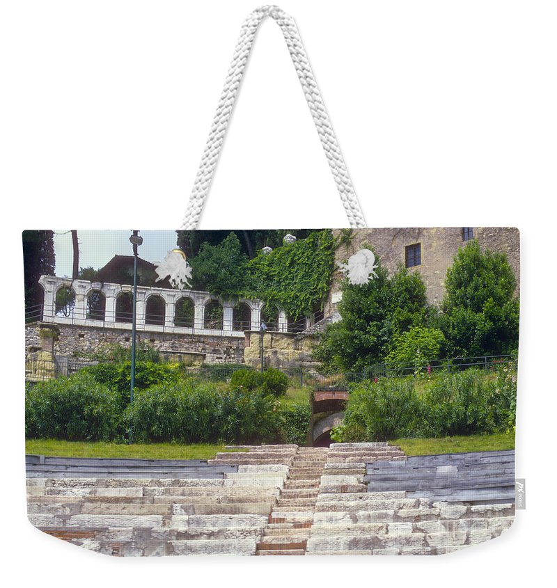 Verona Theatre Ruins Ruin Stone Step Steps Seat Stats Foliage Structure Structures Building Buildings City Cities Cityscape Cityscapes Architecture Italy Weekender Tote Bag featuring the photograph Verona Theatre by Bob Phillips