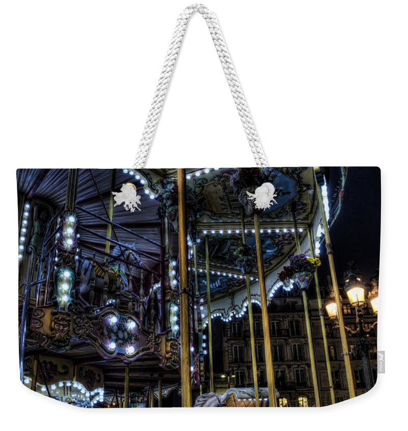 Arch Weekender Tote Bag featuring the photograph Vertical Carousel by Evie Carrier