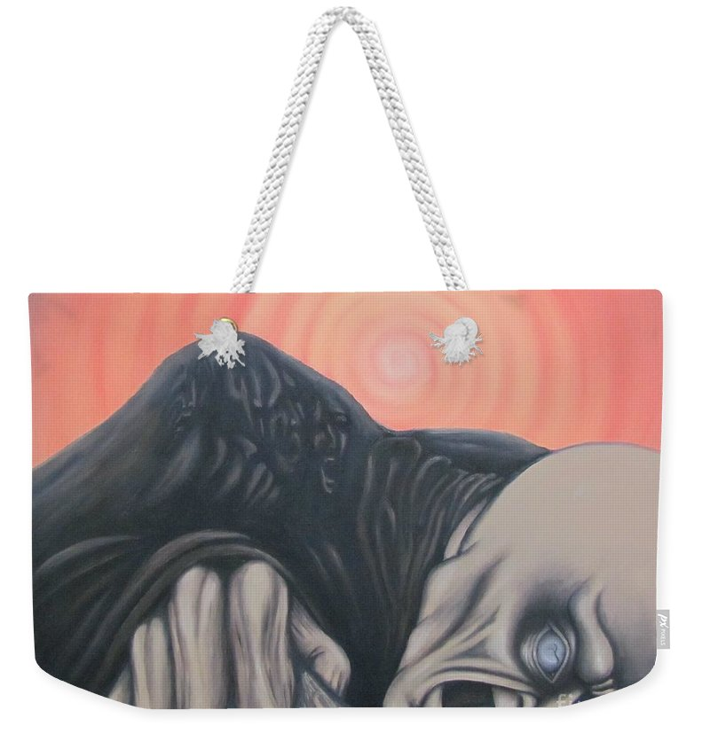 Tmad Weekender Tote Bag featuring the painting Vertigo by Michael TMAD Finney
