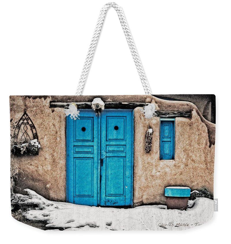 Santa Weekender Tote Bag featuring the photograph Very Blue Door by Charles Muhle