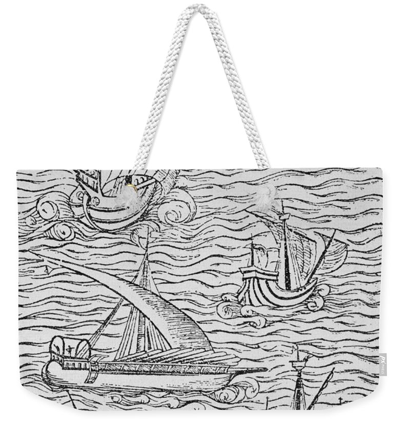 Spanish; Ship; Vessel; Boat; Galleon; Fleet Weekender Tote Bag featuring the painting Vessels Of Early Spanish Navigators From The Narrative And Critical History Of American by English School