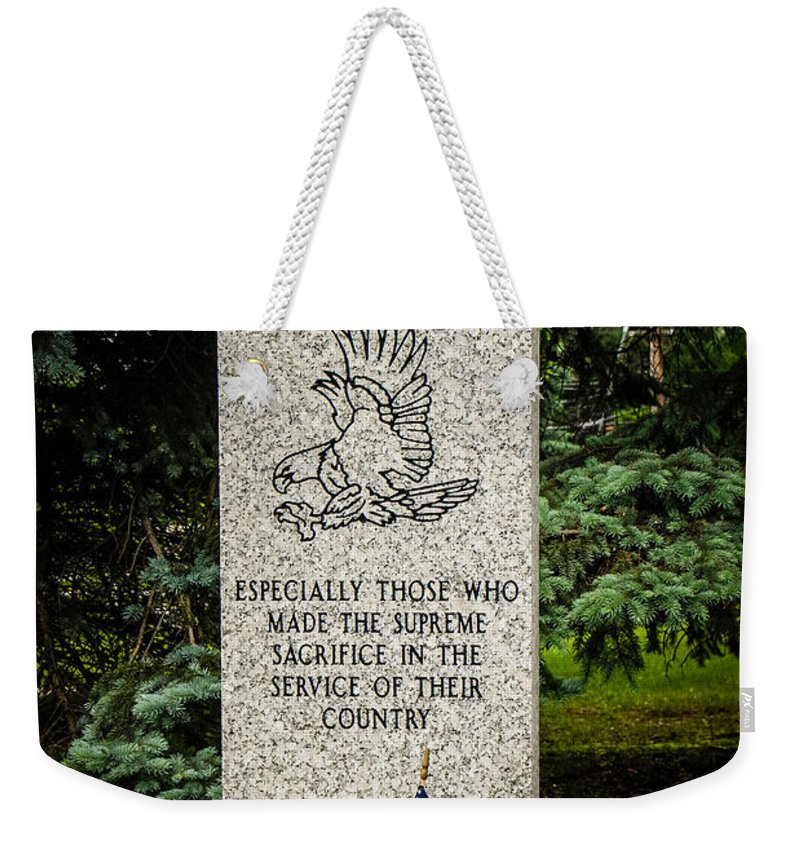 Veterans Weekender Tote Bag featuring the photograph Veterans Memorial by Grace Grogan