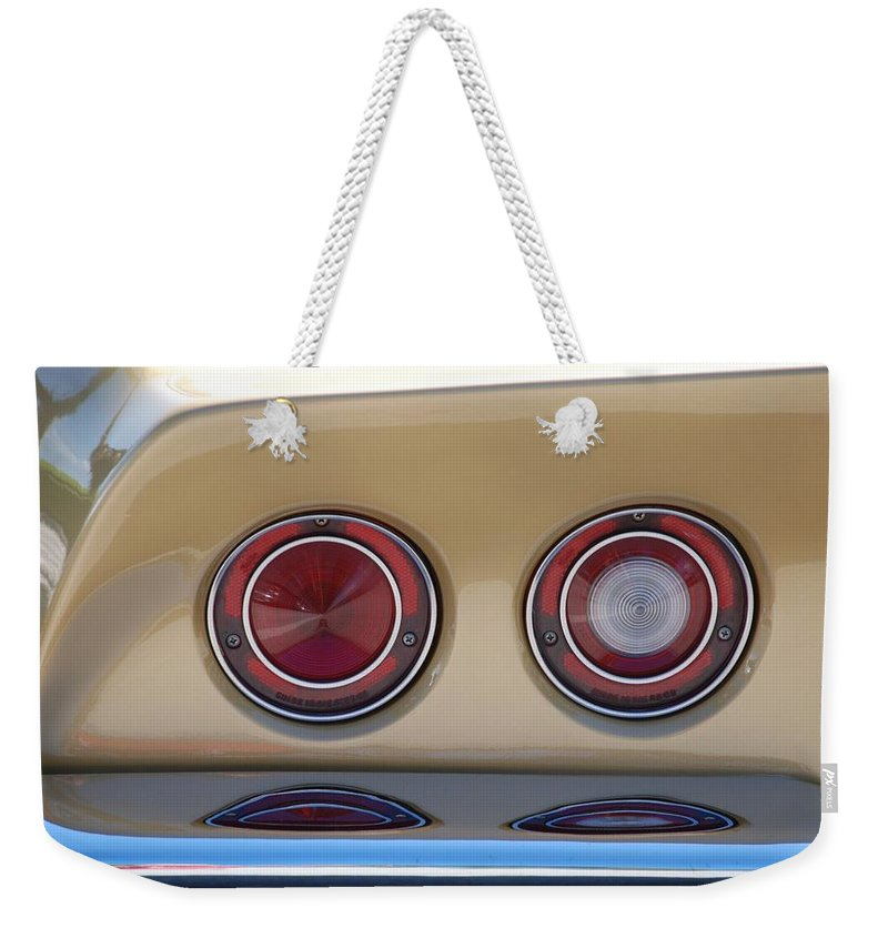 Corvette Weekender Tote Bag featuring the photograph Vette Lights by Rob Hans