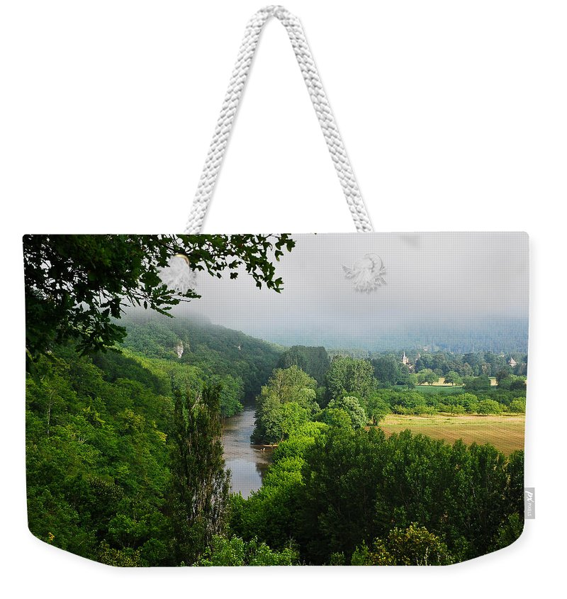 Fog Weekender Tote Bag featuring the photograph Vezere River Valley by Jeff Black