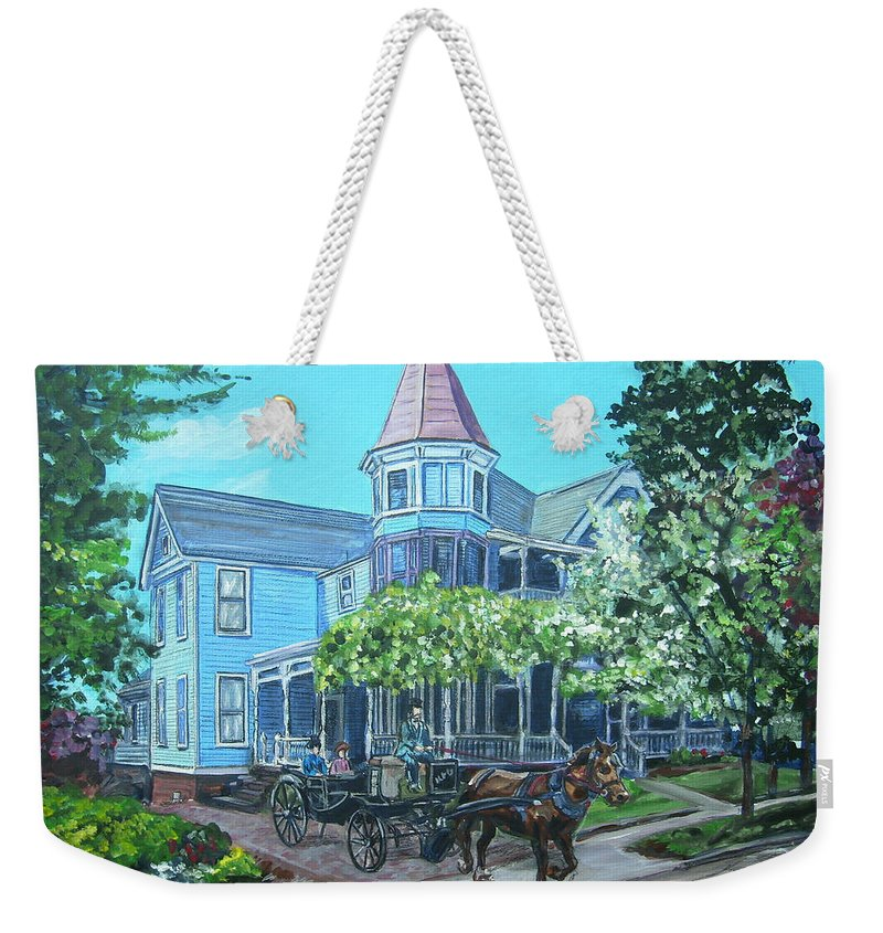 Victorian Weekender Tote Bag featuring the painting Victorian Greenville by Bryan Bustard