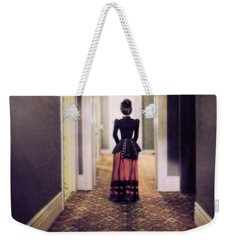 Beautiful Weekender Tote Bag featuring the photograph Victorian Lady In Hallway by Jill Battaglia