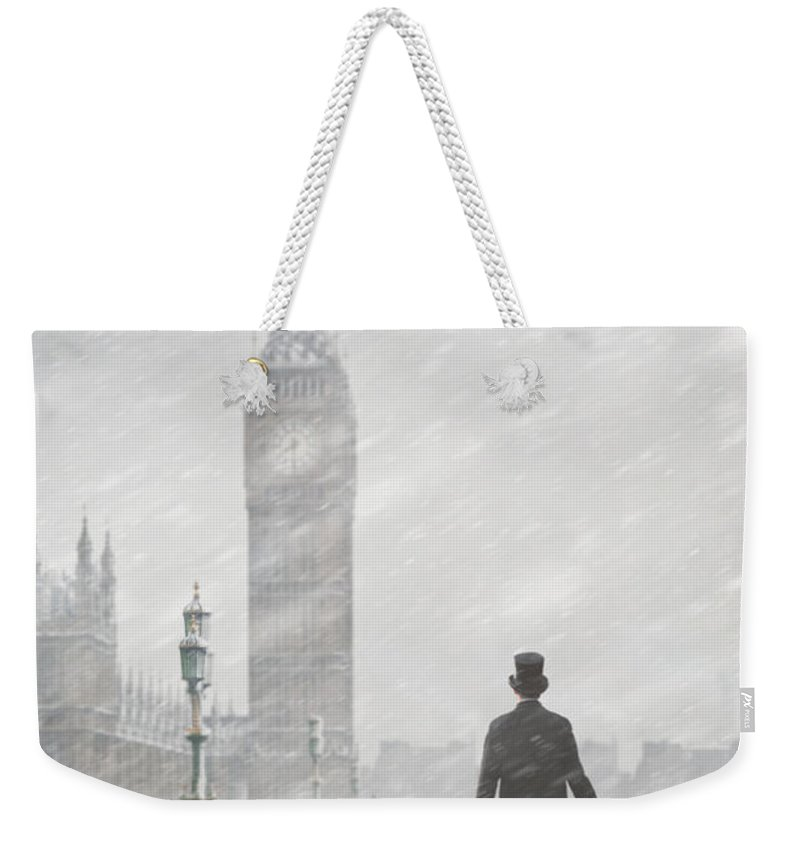 London Weekender Tote Bag featuring the photograph Victorian Man In London With Snow Walking Towards Big Ben by Lee Avison