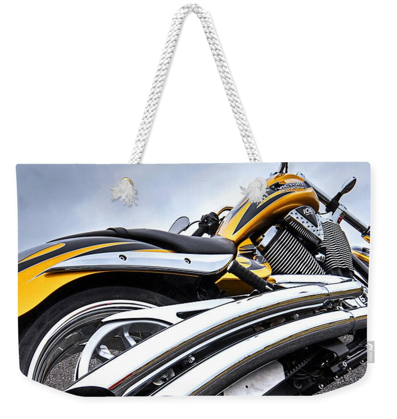 Motorcycle Weekender Tote Bag featuring the photograph Victory Motorcycle 106 Vertical by Gill Billington